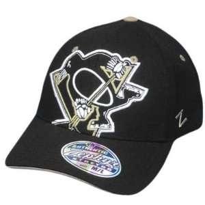 NHL LNH PITTSBURGH PENGUINS BLK FLEX FIT MED LG HAT CAP