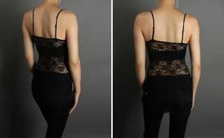 SEXY Full Lace Stretch LONG Camisole Spaghetti Tank Top