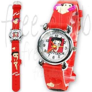 BETTY BOOP Charming Eyes 3D Red Strap Kid Wrist Watch