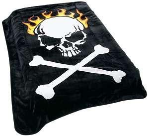 Gothic Skull & Cross Bones Queen King Throw Blanket