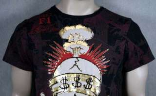 ED Hardy Mens SOLD OUT SKULL t shirt Foil Black NEW