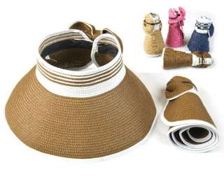 NEW Straw hat Wide Brim roll up sun visor hap womens