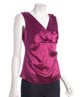 Tahari raspberry sateen Easton v neck sleeveless blouse   up