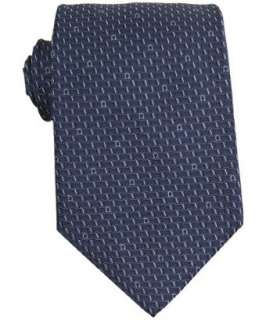 Ferragamo dark blue gancio wave patterned silk tie