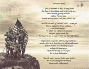 The Silent Ranks Military Wife Poem Print