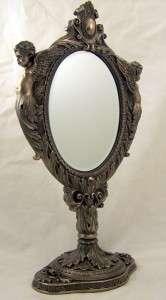 Huge Bronze Decorative Standing Mirror W Angels Cherubs