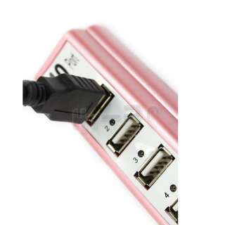 10 PORTS USB HUB 2.0 High Speed with Power Adapter Pink