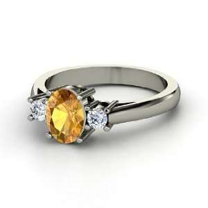 Ashley Ring, Oval Citrine 14K White Gold Ring with Diamond Jewelry