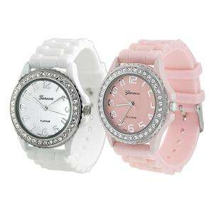 Womens Geneva TWO White & Light Pink Silicone Rubber Jelly w/ CZ