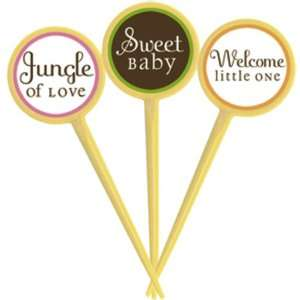 King or Queen of the Jungle Cupcake Picks   Baby Shower Party Picks