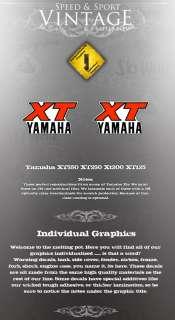 YAMAHA XT550 XT250 XT200 XT125 GAS TANK DECALS LIKE NOS