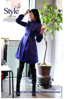 New Korea Womens Winter Woolen Double breasted Lady Trench Coat 4916