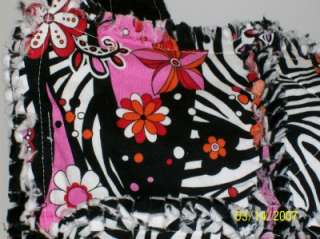 Hot Pink Black Zebra Rag Quilt Diaper Bag Tote Purse