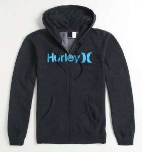Hurley One And Only Mens Heather Black Zip Hoodie Sweatshirt Jacket