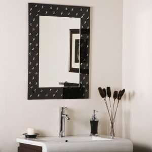 Hall   Large Framed Wall Mirror, Black Finish with Etched Glass
