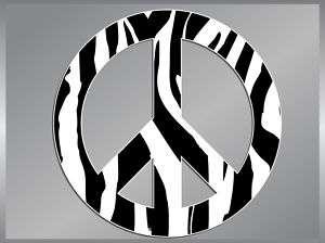 PEACE Sign Zebra Striped vinyl decal sticker 4 Symbol