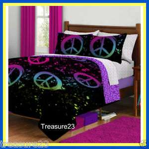 Peace Signs Girls Teen FULL Bed In A Bag Bedding Set