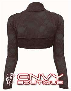 WOMENS LONG SLEEVE LACE BOLERO SHRUG TOP ONE SIZE 8 12