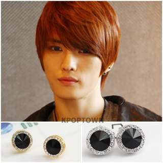 TVXQ JYJ Hero Jejung Style Round Cubic Onyx Earrings