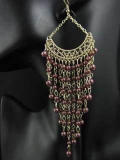New In Fashion Gold Tone Bead Cool Long Dangle Earrings ME597