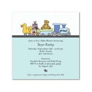 Baby Shower Invitations   Train Shower Blue By Simply Put