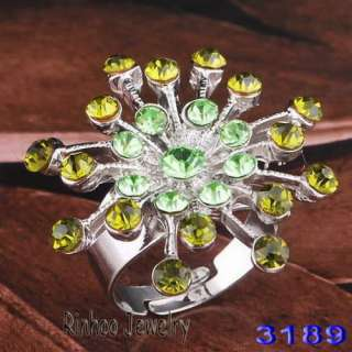 6pcs mix colors rhinestone alloy branches rings 18kgp adjustable Free