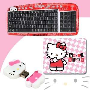 Flash Drive (Pink/White) #46009 + Hello Kitty 3D Mouse Pad (Pink