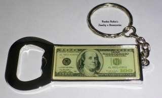 One Hundred Dollar Bill Bottle Opener Keychain Key Ring
