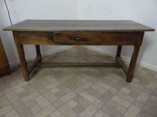 early antique primitive farm table work desk console