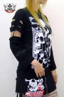 Gothic Punk Rock emo Zipper Chain T Shirt+Arm Warmer L
