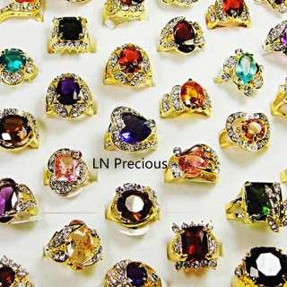 wholesale jewelry lots 10pcs Rhinestone Cubic Zirconia Gold rings free