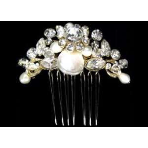 Pearl and Crystal Hair Piece in Gold S2319 Beauty