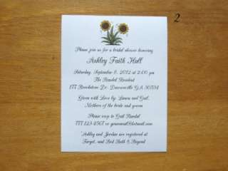 12 Personalized SUNFLOWER BRIDAL Shower Invitations Party *