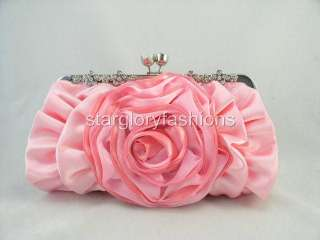 Pink Rose Crystal Flowers Frame Wedding/Party Clutch ECR 092377