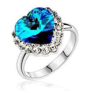 18K Gold Plate Swarovski Crystal Ocean Heart Ring Size8