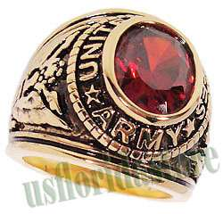 Mens Siam Red US Army Military 18kt Gold Plated Ring