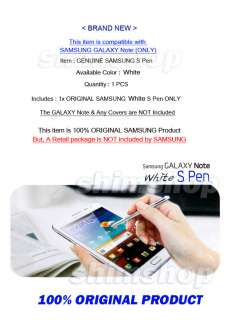 ORIGINAL GENUINE SAMSUNG GALAXY NOTE N7000 WHITE CASE COVER STYLUS
