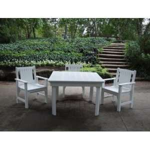 Dining Table and 4 Arm Chairs  Recycled Plastic Patio, Lawn & Garden