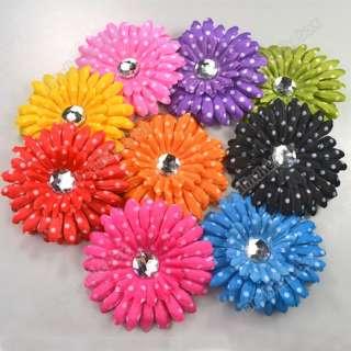 9pcs Polka Dot GIRL Baby Crystal Daisy Head Flower Hair Clip Bow