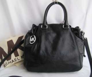 KORS Waverly Black Leather Drawstring Tote X Body Bag $368
