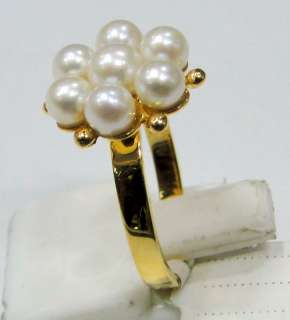 Vintage 14 K solid gold pearls Ring jewelry