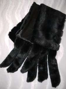 Black / White Mink Faux Fur Stole with Tails Weddings