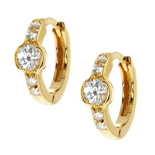 builder deals stunning cz huggies gold plated earrings snap down back