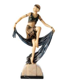 Art Deco Sculpture Lady Charlotte Scarf Dancer Figurine