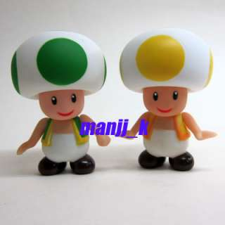 NEW Nintendo Super Mario Figure 9cm Green & Yellow Toad x 1pcs