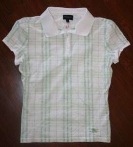 BURBERRY of LONDON White/Green GOLF Polo Button Front Shirt SMALL