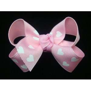 Pink Hearts Hearts Girls Hair Bow Beauty