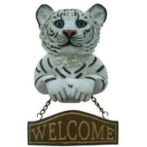 White Tiger Welcome Wall Art Plaque Home & Kitchen