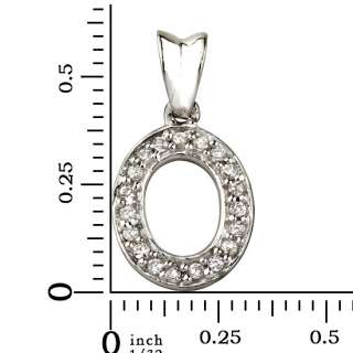 925 Sterling Silver & CZ Initial Letter O Pendant