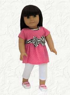 Doll Clothes Pink Dot w/Zebra Trim+ White Capris Fit American Girl